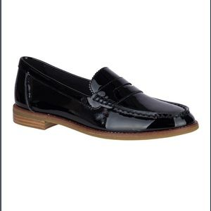 Sperry Seaport Black Patent Penny Loafer